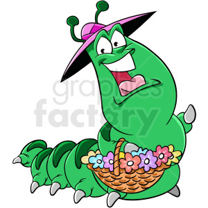 cartoon caterpillar finding flowers clipart. Royalty-free image # 409283