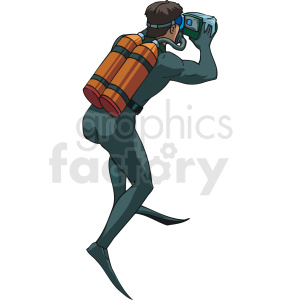 underwater photographer in scuba suit clipart. Commercial use image # 169966