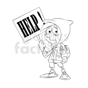 black and white cartoon refugee needing help clipart. Royalty-free image # 409321