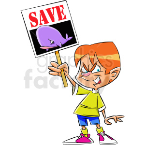 cartoon protestor protesting to save the whales clipart. Commercial use image # 409334