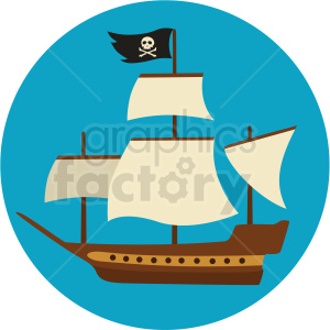 pirate ship vector clipart on aqua background
