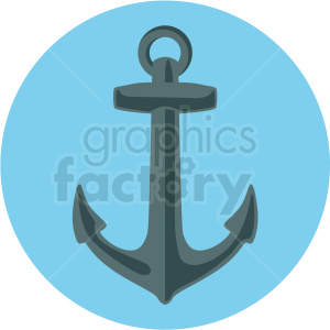 anchor vector clipart on blue background