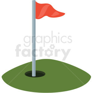 golf hole and flag vector clipart