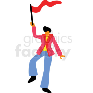 cartoon man holding festival flag vector clipart clipart. Royalty-free image # 409650