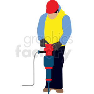 white man using jackhammer vector clipart clipart. Royalty-free image # 409676