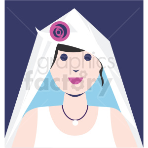 female bride avatar purple background vector icon clipart. Royalty-free icon # 409780