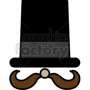 top hat with mustache icon clipart. Commercial use image # 409907