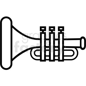 black and white trumpet icon clipart. Royalty-free image # 409919