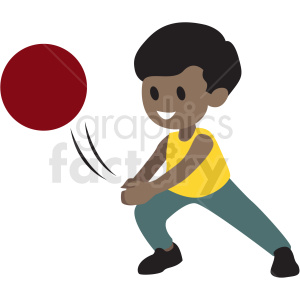 cartoon African American boy playing with ball clipart. Commercial use image # 409954