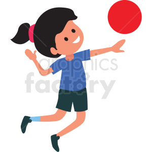 cartoon girl playing ball clipart. Commercial use image # 409965