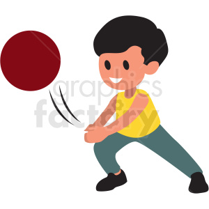 cartoon boy playing with ball clipart. Commercial use image # 409976