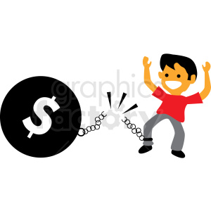 debt free cartoon vector clipart clipart. Royalty-free image # 410001