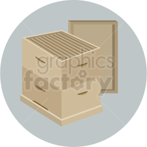 open beehive box vector gray background clipart. Royalty-free image # 410073
