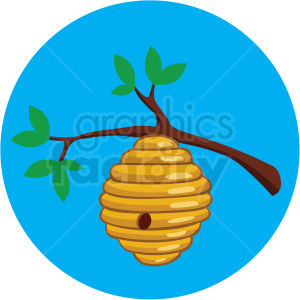 cartoon beehive in tree vector clipart blue background clipart. Commercial use image # 410080
