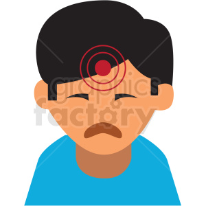 boy with migraine headache vector icon clipart. Royalty-free image # 410107