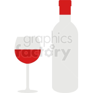 wine bottle with glass flat icon clipart. Commercial use image # 410281