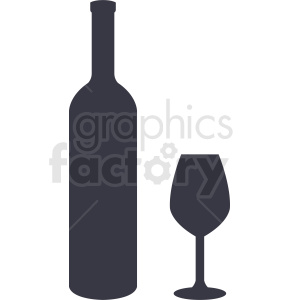 bottle of wine and glass silhouette clipart. Commercial use image # 410286