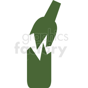 broken green bottle silhouette vector no background clipart. Royalty-free image # 410299