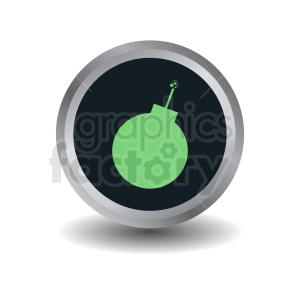 green bomb on circle button icon clipart. Commercial use image # 410376