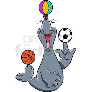 seal playing with balls cartoon clipart. Commercial use image # 410567