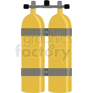 yellow double scuba diver tank vector clipart clipart. Commercial use image # 410592