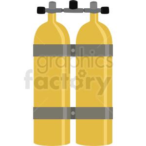 yellow double scuba diver tank vector clipart