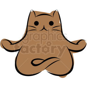 cartoon cat doing yoga lotus pose vector clipart. Commercial use image # 410647
