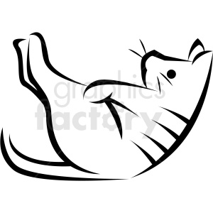 black and white cartoon cat doing yoga pose vector clipart. Commercial use image # 410667