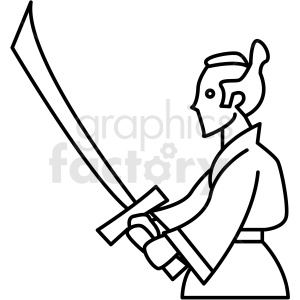 japanese samurai fighter vector icon clipart. Commercial use image # 410697