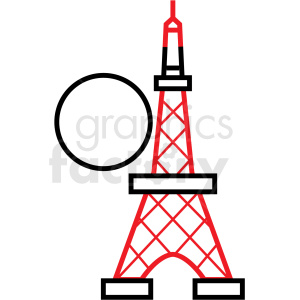 Japan Tokyo tower with red vector icon clipart. Commercial use image # 410699