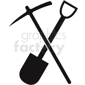 shovel with pickaxe vector clipart