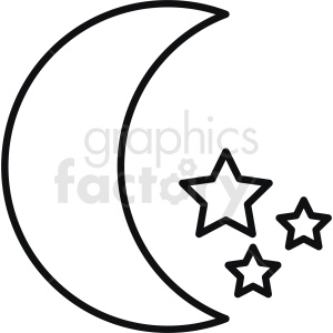 moon vector icon outline clipart. Commercial use image # 410938