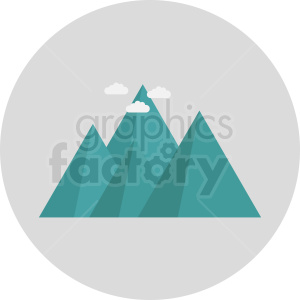 aqua mountain with clouds vector icon on gray circle background clipart. Royalty-free image # 410953