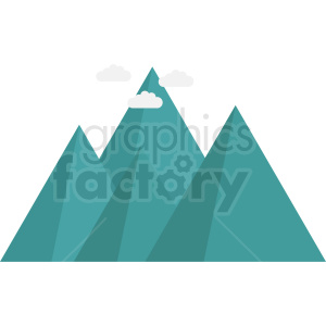 aqua mountain with clouds vector icon no background clipart. Commercial use image # 410979