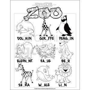 doodle zoo game printable page clipart. Royalty-free image # 411259