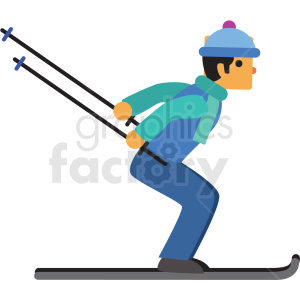 man snow skiing flat vector icon clipart. Royalty-free icon # 411268