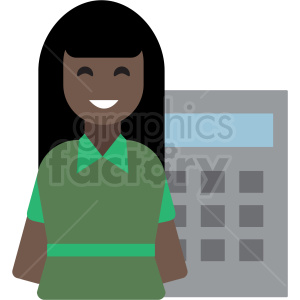 black cashier flat icon vector icon