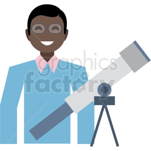 black astronomer flat icon vector icon clipart. Royalty-free icon # 411316