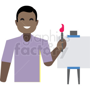 black man painting flat icon vector icon clipart. Commercial use image # 411346