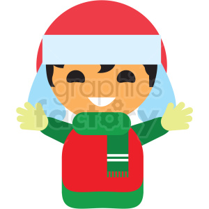 christmas avatar boy vector icon clipart. Commercial use image # 411358
