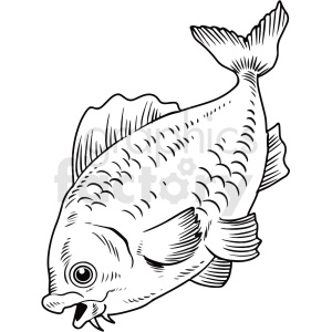 black white cartoon fish