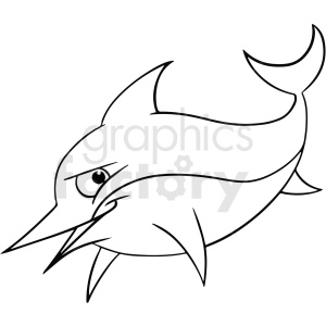 black white cartoon dolphin clipart. Commercial use image # 411448