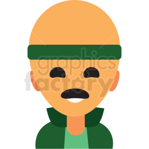 bald man wearing headband avatar icon vector clipart clipart. Commercial use image # 411513