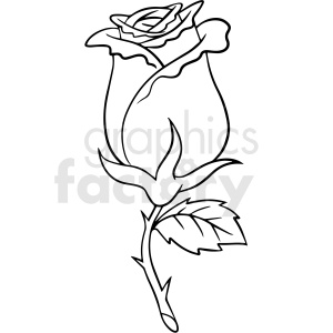 black and white rose flower vector clipart clipart. Commercial use image # 411539