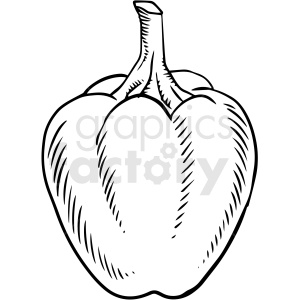black and white cartoon bell pepper vector clipart