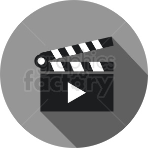 clapperboard play vector icon clipart. Commercial use image # 411895