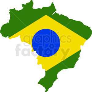 Brazil flag shaped like country clipart. Commercial use image # 412188