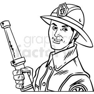 black and white retro firefighter vector clipart clipart. Royalty-free image # 412465