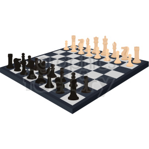 chess board full of pieces vector clipart