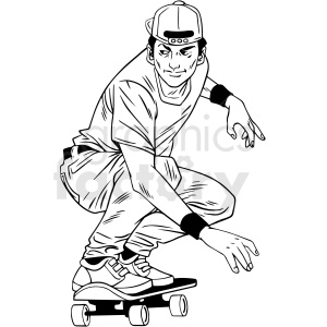 black and white guy skateboarding vector illustration clipart. Commercial use image # 412607